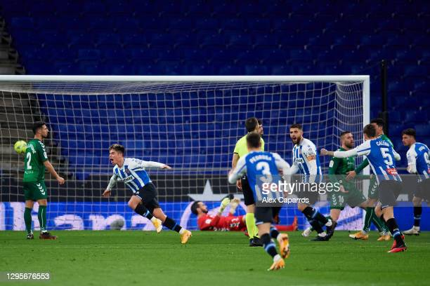 Nicolas Melamed Ribaudo of RCD Espanyol celebrates after scoring the opening goal during the LaLiga SmartBank match between RCD Espanyol and CD...