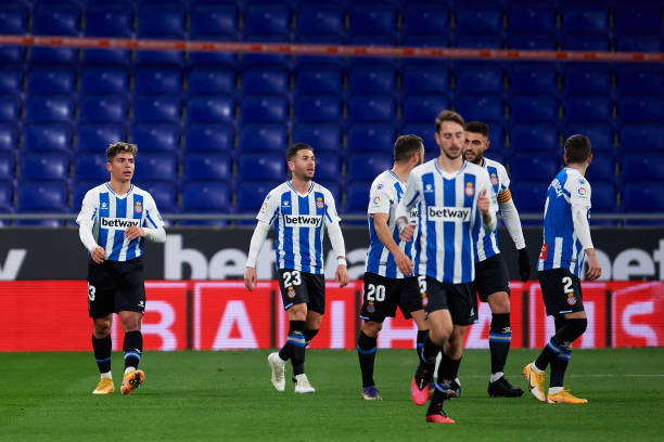 Nicolas Melamed Ribaudo of RCD Espanyol celebrates with teammates after scoring the opening goal during the LaLiga SmartBank match between RCD...