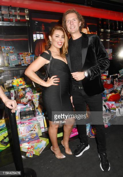Nicolas Mereau and actress Miss Amal Maizou attend Hopital Necker Children XMas Party at VIP Room Theater on December 16 2019 in Paris France