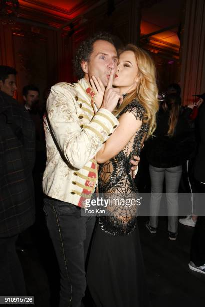 Nicolas Mereau and Julie Jardon attend the The Couture Ball Le Jean Paul Benielli Show Party at Le Mona Bismarck on January 26 2018 in Paris France