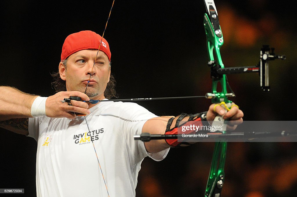 Nicolas Meunier (Canada) shoots during Archery Finals at the Invictus Games at ESPN Wide World of Sports complex on May 9, 2016 in Lake Buena Vista, Florida.