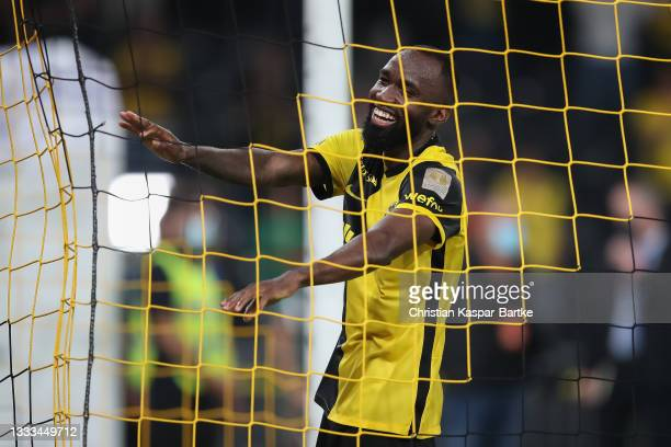 Nicolas Moumi Ngamaleu of BSC Young Boys celebrates after the UEFA Champions League Third Qualifying Round Leg Two match between BSC Young Boys and...