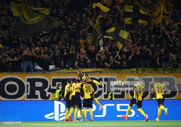 Nicolas Moumi Ngamaleu of Young Boys celebrates with teammates after scoring their side's first goal during the UEFA Champions League group F match...