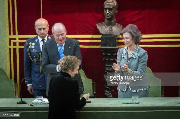 King Juan Carlos Queen Sofia and scientific Margarita Salas attend the 'Medalla Echegaray 2016' medal delivery ceremony on November 21 2017 in Madrid...
