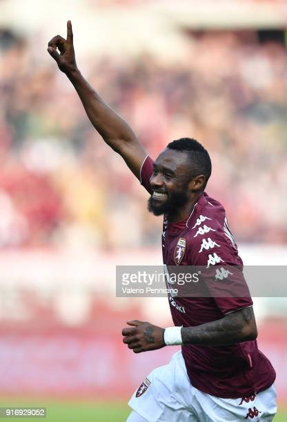 Nicolas N koulou of Torino FC celebrates after scoring the opening goal during the Serie A match between Torino FC and Udinese Calcio at Stadio...