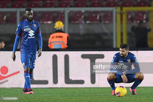 Nicolas N'Koulou and Tomas Rincon of Torino FC look disappointed during the Serie A match between US Lecce and Torino FC at Stadio Via del Mare on...