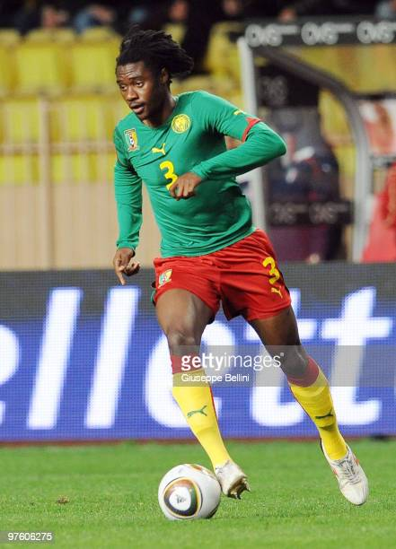 Nicolas Nkoulou of Cameroon in action during the International Friendly match between Italy and Cameroon at Louis II Stadium on March 3, 2010 in...