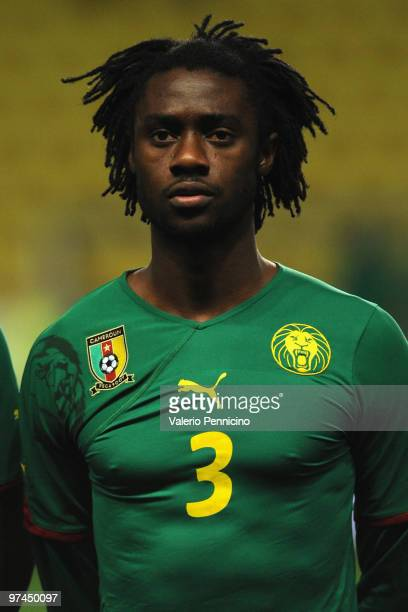 Nicolas Nkoulou of Cameroon looks on prior to the International Friendly match between Italy and Cameroon at Louis II Stadium on March 3, 2010 in...
