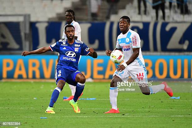 Nicolas Nkoulou of Lyon and Aaron Leya Iseka of Marseille during the French Ligue 1 match between Olympique de Marseille and Olympique Lyonnais at...