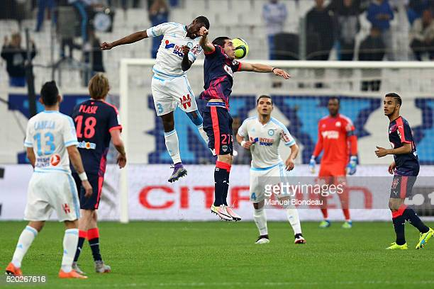 Nicolas Nkoulou of Marseille and Enzo Crivelli of Bordeaux during the French League 1 match between Olympique de Marseille and FC Girondins de...