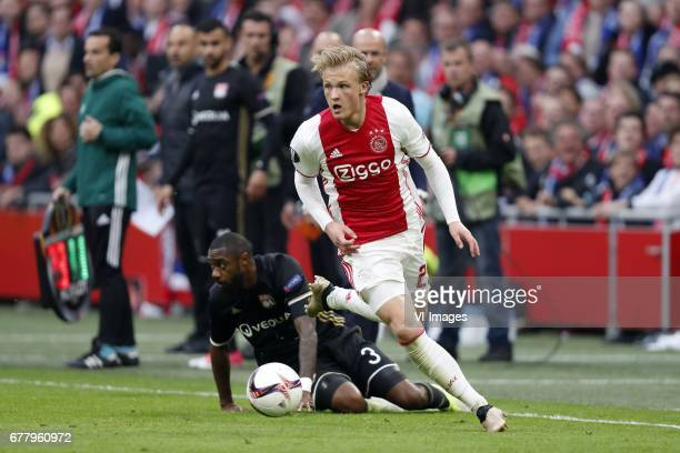 Nicolas Nkoulou of Olympique Lyonnais Kasper Dolberg of Ajaxduring the UEFA Europa League semi final match between Ajax Amsterdam and Olympique...