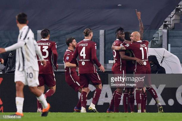 Nicolas Nkoulou of Torino celebrates 0-1 with Lyanco of Torino, Ricardo Rodriguez of Torino, Simone Zaza of Torino during the Italian Serie A match...