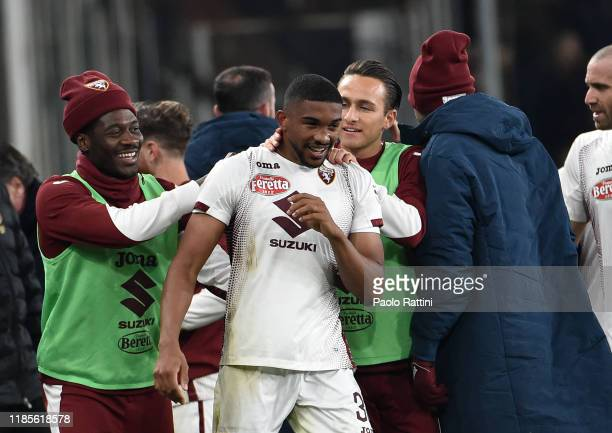 Nicolas Nkoulou of Torino FC celebrates after his first goal during the Serie A match between Genoa CFC and Torino FC at Stadio Luigi Ferraris on...