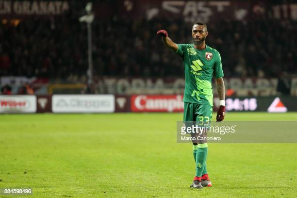 Nicolas N'Koulou of Torino FC gestures during the Serie A football match between Torino Fc and Atalanta Bergamasca Calcio Players of Torino Fc wear a...