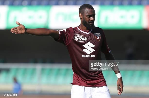 Nicolas Nkoulou of Torino FC gestures during the Serie A match between Chievo Verona and Torino FC at Stadio Marc'Antonio Bentegodi on September 30,...
