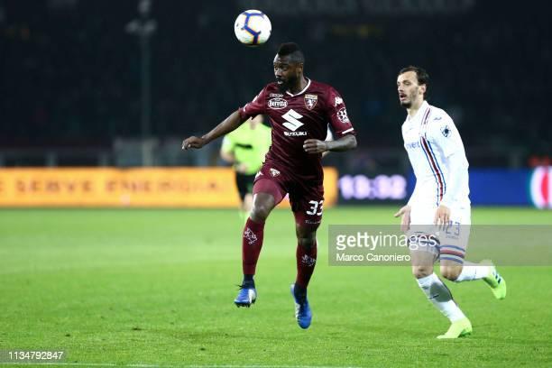 Nicolas N'Koulou of Torino FC in action during the Serie A football match between Torino Fc and Uc Sampdoria. Torino Fc wins 2-1 over Uc Sampdoria.