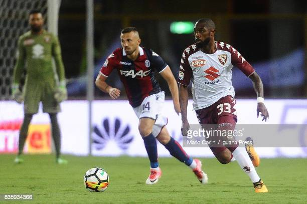 Nicolas N'Koulou of Torino FC in action during the Serie A match between Bologna FC and Torino FC at Stadio Renato Dall'Ara on August 20 2017 in...