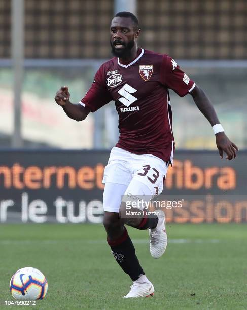 Nicolas Nkoulou of Torino FC in action during the Serie A match between Chievo Verona and Torino FC at Stadio Marc'Antonio Bentegodi on September 30,...