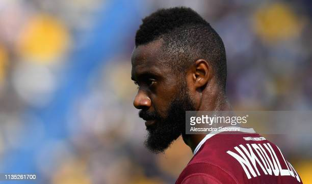 Nicolas Nkoulou of Torino FC looks on during the Serie A match between Parma Calcio and Torino FC at Stadio Ennio Tardini on April 6 , 2019 in Parma,...