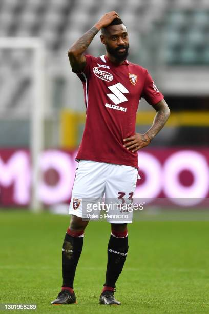 Nicolas Nkoulou of Torino FC reacts following the Serie A match between Torino FC and Genoa CFC at Stadio Olimpico di Torino on February 13, 2021 in...