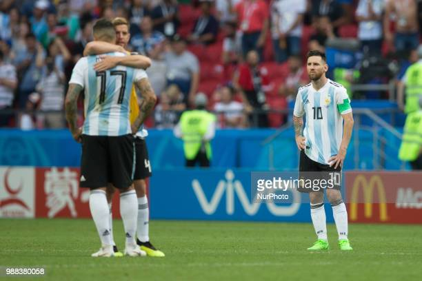 Nicolas Otamendi Cristian Ansaldi Lionel Messi of Argentina during the 2018 FIFA World Cup Russia Round of 16 match between France and Argentina at...