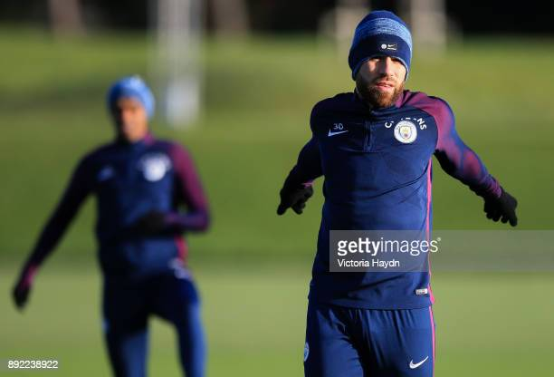 Nicolas Otamendi during training at Manchester City Football Academy on December 14 2017 in Manchester England