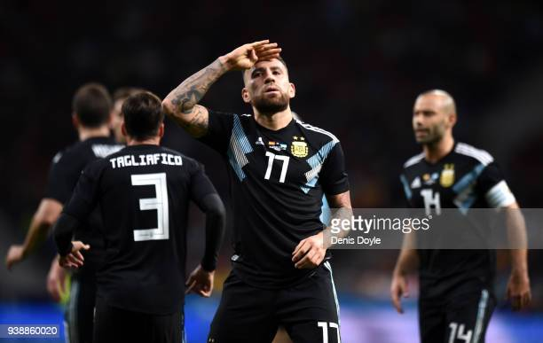 Nicolas Otamendi of Argentina celebrates after scoring his sides first goal during the International Friendly between Spain and Argentina on March 27...