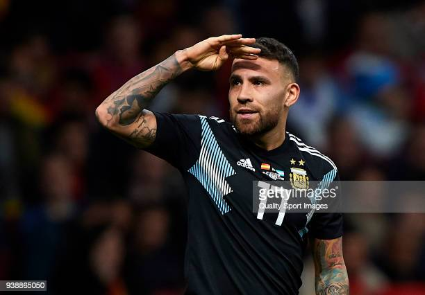 Nicolas Otamendi of Argentina celebrates after scoring his sides first goal during the international friendly match between Spain and Argentina at...