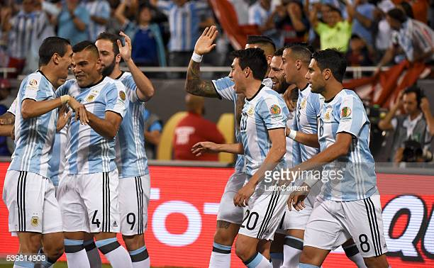 Nicolas Otamendi of Argentina celebrates with teammates after scoring the first goal of his team during a group D match between Argentina and Panama...