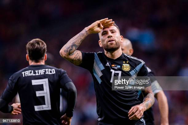Nicolas Otamendi of Argentina celebrating his score during the International Friendly 2018 match between Spain and Argentina at Wanda Metropolitano...