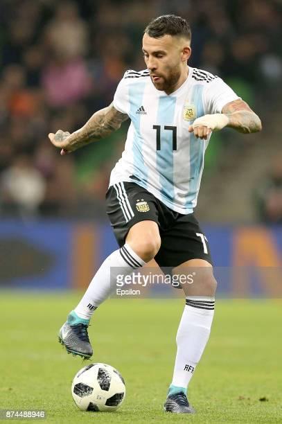 Nicolas Otamendi of Argentina controls the ball during an international friendly match between Argentina and Nigeria at Krasnodar Stadium on November...