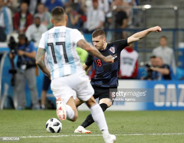 Nicolas Otamendi of Argentina in action against Ante Rebic of Croatia during the 2018 FIFA World Cup Russia Group D match between Argentina and...