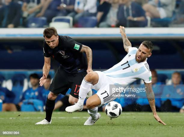 Nicolas Otamendi of Argentina in action against Mario Manzukic of Croatia during the 2018 FIFA World Cup Russia Group D match between Argentina and...