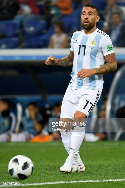 Nicolas Otamendi of Argentina in action during the FIFA World Cup Group D match between Argentina and Croatia at Nizhny Novogorod Stadium in Nizhny...