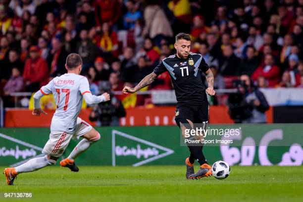 Nicolas Otamendi of Argentina in action during the International Friendly 2018 match between Spain and Argentina at Wanda Metropolitano Stadium on 27...