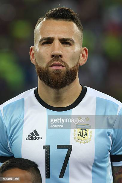 Nicolas Otamendi of Argentina looks on prior a match between Venezuela and Argentina as part of FIFA 2018 World Cup Qualifiers at Metropolitano...