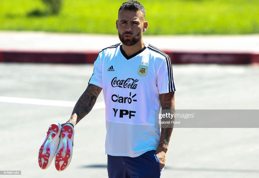 Nicolas Otamendi of Argentina looks on prior a training session at the team base camp on June 17, 2018 in Bronnitsy, Russia.