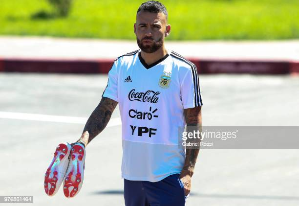 Nicolas Otamendi of Argentina looks on prior a training session at the team base camp on June 17 2018 in Bronnitsy Russia