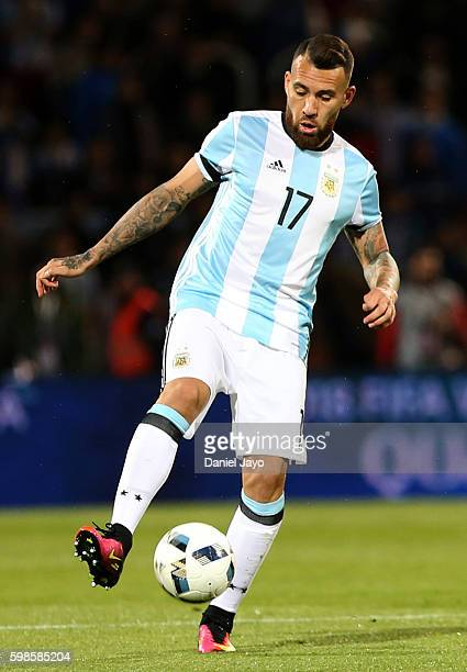 Nicolas Otamendi of Argentina plays the ball during a match between Argentina and Uruguay as part of FIFA 2018 World Cup Qualifiers at Malvinas...