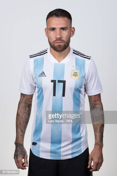 Nicolas Otamendi of Argentina poses for a portrait during the official FIFA World Cup 2018 portrait session on June 12 2018 in Moscow Russia