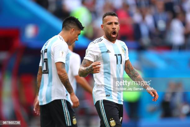 Nicolas Otamendi of Argentina reacts during the 2018 FIFA World Cup Russia Round of 16 match between France and Argentina at Kazan Arena on June 30...