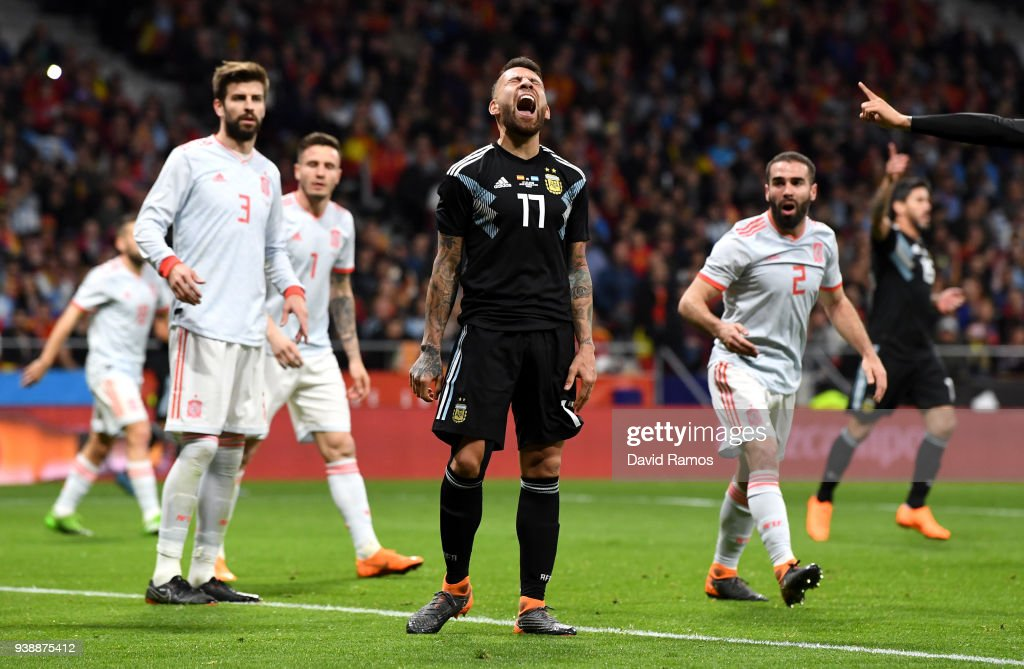 Nicolas Otamendi of Argentina reacts during the International Friendly between Spain and Argentina on March 27, 2018 in Madrid, Spain.