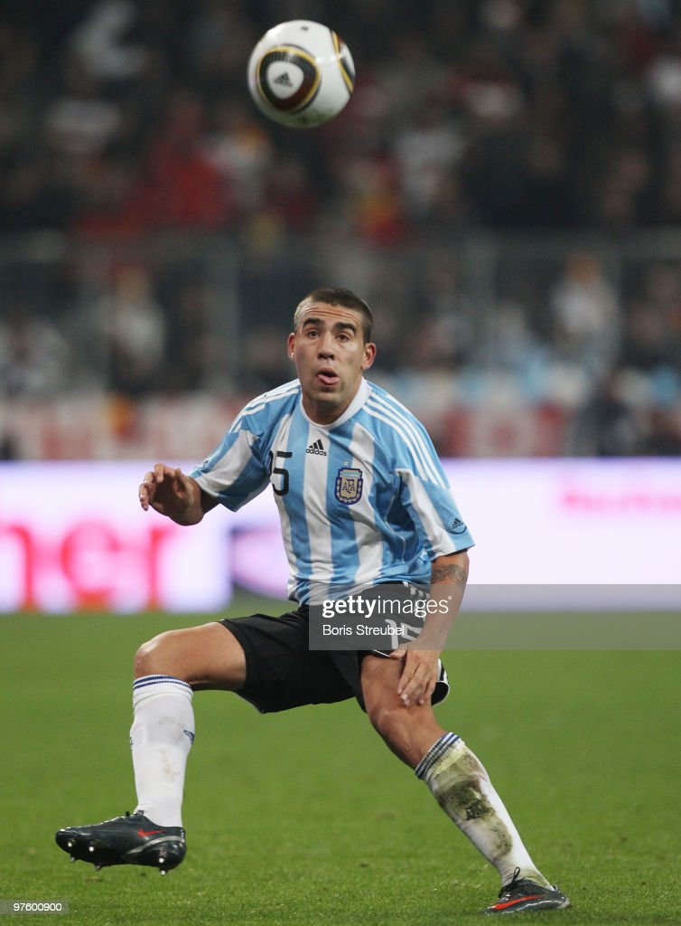 Nicolas Otamendi of Argentina runs with the ball during the International Friendly match between Germany and Argentina at the Allianz Arena on March 3, 2010 in Munich, Germany.