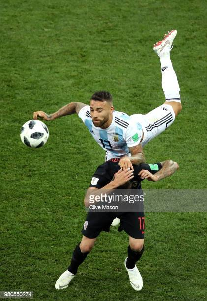 Nicolas Otamendi of Argentina wins a header over Mario Mandzukic of Croatia during the 2018 FIFA World Cup Russia group D match between Argentina and...
