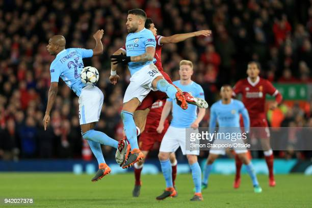 Nicolas Otamendi of Man City and Fernandinho of Man City go for the same ball during the UEFA Champions League Quarter Final First Leg match between...
