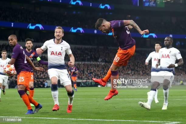 Nicolas Otamendi of Man City heads wide during the UEFA Champions League Quarter Final first leg match between Tottenham Hotspur and Manchester City...