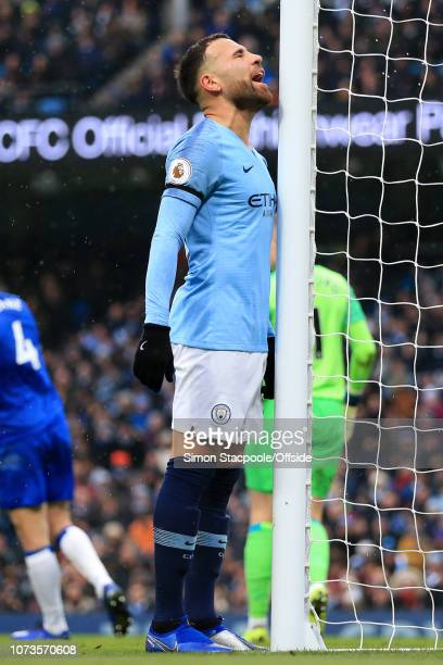 Nicolas Otamendi of Man City looks dejected during the Premier League match between Manchester City and Everton at the Etihad Stadium on December 15,...
