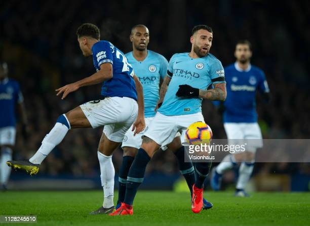 Nicolas Otamendi of Manchester City and Dominic CalvertLewin of Everton in action during the Premier League match between Everton FC and Manchester...