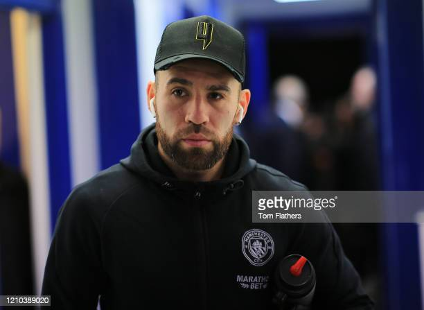 Nicolas Otamendi of Manchester City arrives at the stadium prior to the FA Cup Fifth Round match between Sheffield Wednesday and Manchester City at...