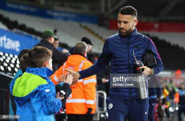 Nicolas Otamendi of Manchester City arrives at the stadium prior to the Premier League match between Swansea City and Manchester City at Liberty...